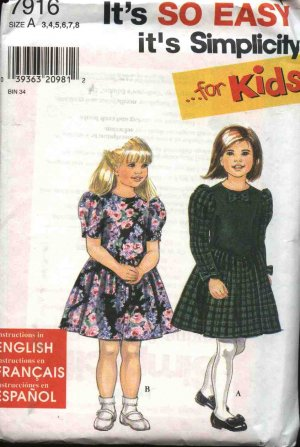 Simplicity Sewing Pattern 7916 Girls Size 3-8 Easy Full Skirt Short Long Sleeve Dress