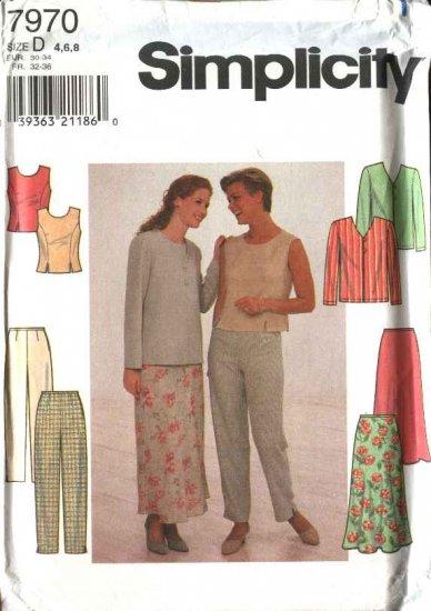Simplicity Sewing Pattern 7970 Misses Size 4-8 Wardrobe Jacket Top Long Pants Flared Skirt