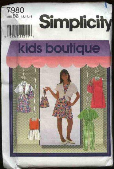 Simplicity Sewing Pattern 7980 Girls Size 12-16 Wardrobe Dress Top Shirt Pants Shorts Purse
