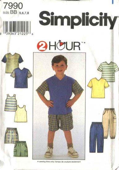 Simplicity Sewing Pattern 7990 Boys Size 5-8 Wardrobe Long Pants Shorts Knit Short Sleeve Tank Top