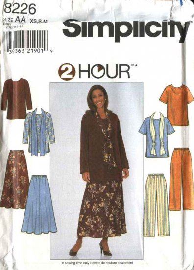 Simplicity Sewing Pattern 8226 Misses Size 6-16 Pullover Top Pull on Flared Skirt Long  Pants Scarf