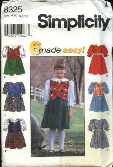 Simplicity Sewing Pattern 8325 Girls Size 5-8 Easy Full Skirt Dress Vest