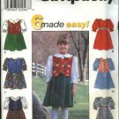 Simplicity Sewing Pattern 8325 Girls Size 5-8 Easy Full Skirt Dress Vest