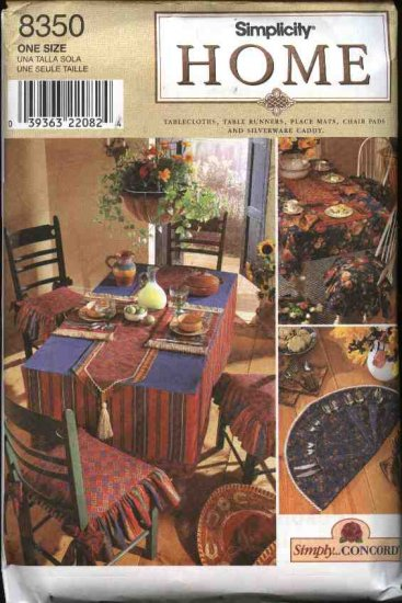 Simplicity Sewing Pattern 8350 Tablecloth Table Runners Place Mats Silverware Caddy