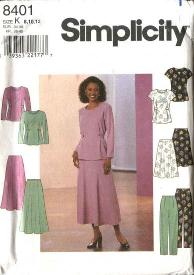 Simplicity Sewing Pattern 8401 Misses Size 8-10-12 Pullover Top Flared Skirt Long Fitted  Pant