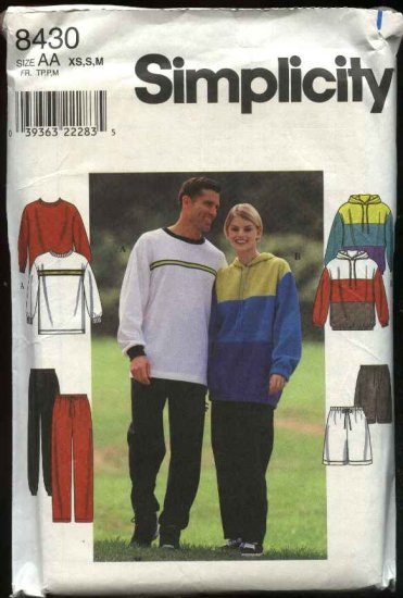 "Simplicity Sewing Pattern 8430 Mens Misses chest Size 30-40"" Pullover Top Jacket Pants Shorts"