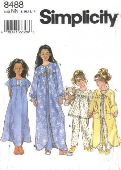 Simplicity Sewing Pattern 8488 Girls Size 8-14 Pajamas Pyjamas Nightgown Robe Bathrobe