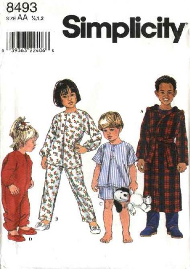 Simplicity Sewing Pattern 8493 Boys Girls Toddlers Size ½-1-2 Pajamas Sleeper Hooded Robe Top Pants