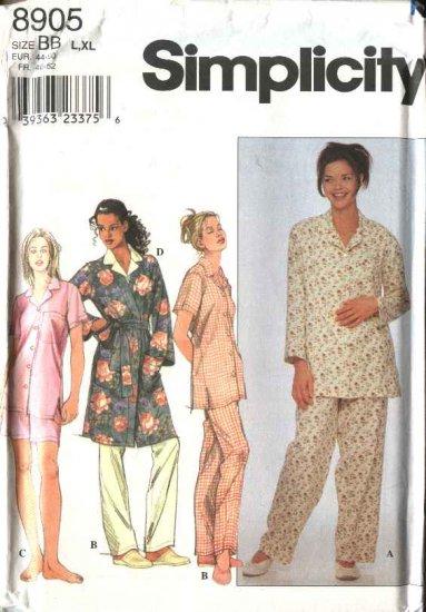 Simplicity Sewing Pattern 8905 Misses Size 18-24  Pajamas Front Wrap Robe Pants Shorts Button Shirt