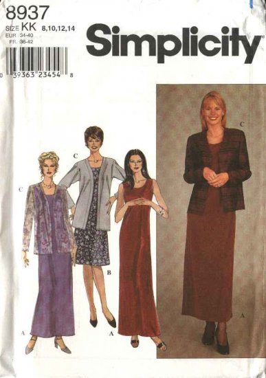 Simplicity Sewing Pattern 8937 Misses Size 8-14 Long Short Sleeveless Sheath Dress Jacket