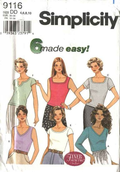 Simplicity Sewing Pattern 9116 Misses Size 4-10 Easy Pullover Knit Tops T-shirts