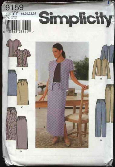 Simplicity Sewing Pattern 9159 Misses Size 18-24 Long Short Straight Skirt Long Pants Jacket
