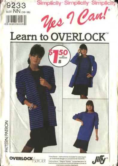 Retro Simplicity Sewing Pattern 9233 Misses Size 10-12-14-16 Cardigan Skirt Pullover Dress Tunic