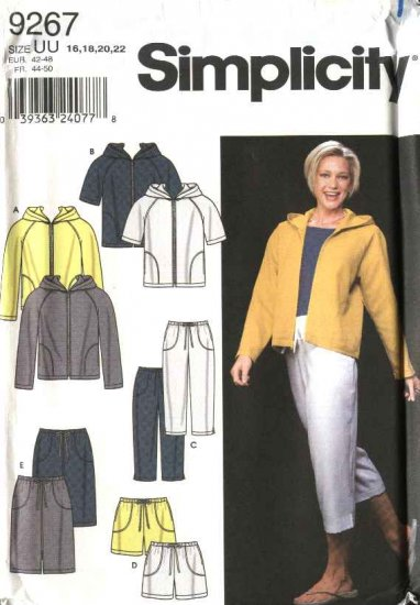 Simplicity Sewing Pattern 9267 Misses Size 16-22 Hooded Jacket Cropped Pants Skirt Shorts