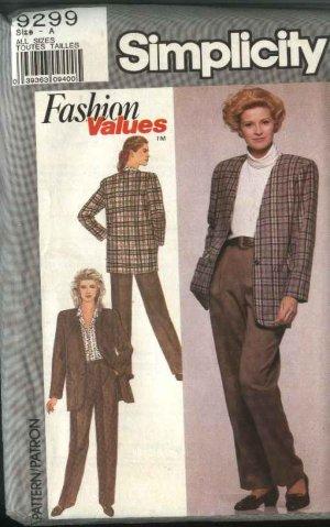 Simplicity Sewing Pattern 9299 Misses Size 8-18 Pants Unlined Jacket Pantsuit
