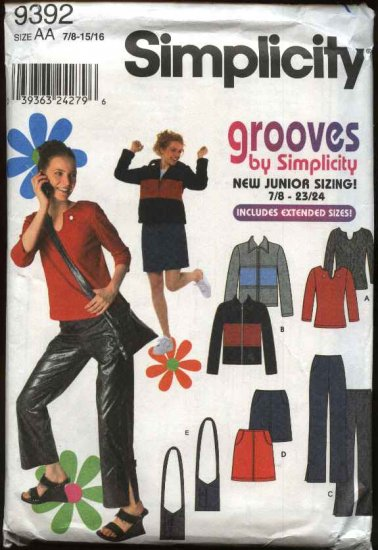 Simplicity Sewing Pattern 9392 Junior Size 7/8-15/16 Wardrobe Jacket Pants Tops Skirt Purse