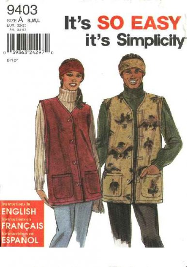 """Simplicity Sewing Pattern 9403 Misses Mens Chest Size 34-44"""" Button Front  Vest Headband"""