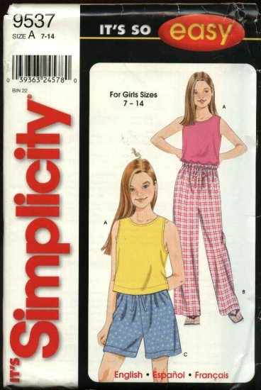 Simplicity Sewing Pattern 9537 Girls Size 7-14 Easy Pajamas Pullover Sleeveless Top Pants Shorts