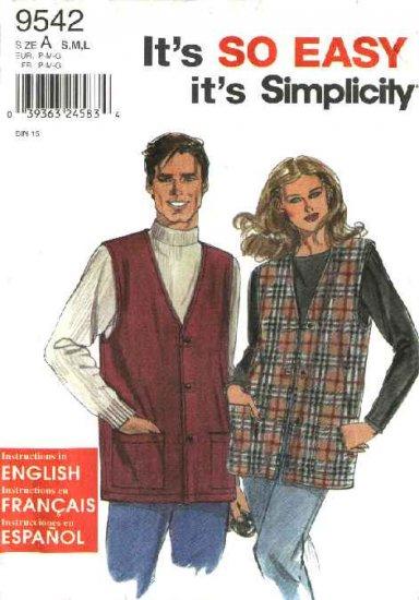 "Simplicity Sewing Pattern 9542 Misses Mens Chest Size 34-44"" Unisex Button Front Vest"