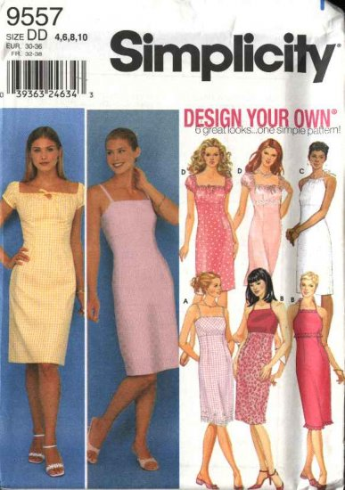 Simplicity Sewing Pattern 9557 Misses Size 4-10 Sundress Summer Halter Straight Dresses