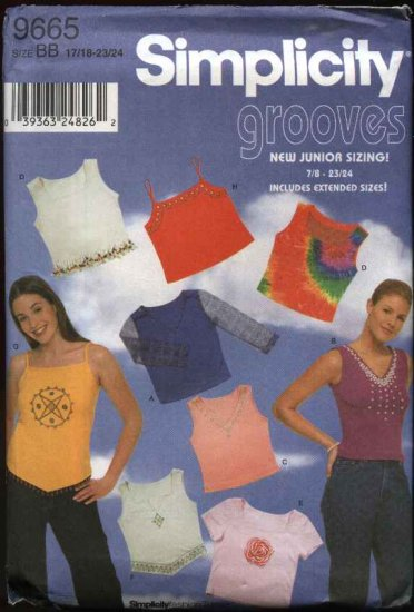 Simplicity Sewing Pattern 9665 Junior size 7/8-15/16 Knit Long Sleeve Sleeveless Pullover Tops