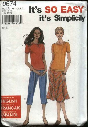 Simplicity Sewing Pattern 9674 Misses size 6-24 Easy Pullover Top Pull On Pants Flared Skirt