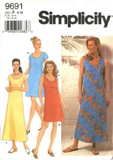 Simplicity Sewing Pattern 9691 Misses Size 8-18 Pullover Summer Flared Long Short Dress