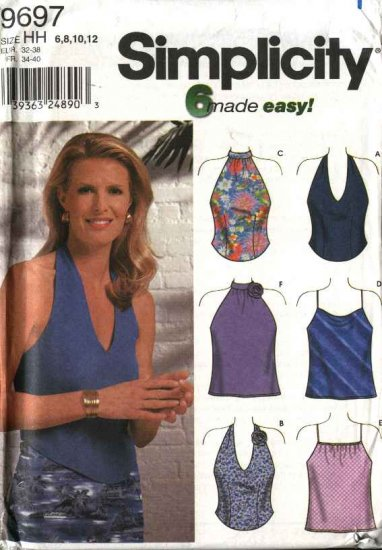 Simplicity Sewing Pattern 9697 Misses Size 6-12 Easy Halter Camisole Summer Tops