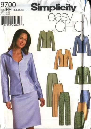 Simplicity Sewing Pattern 9700 Misses Size 6-12 Easy Straight Skirt Pants Jacket Suit Pantsuit