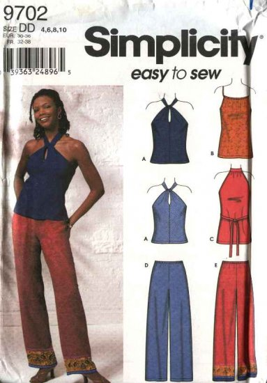 Simplicity Sewing Pattern 9702 Misses Size 410 Easy Long Pants Knit Halter Pullover Tops