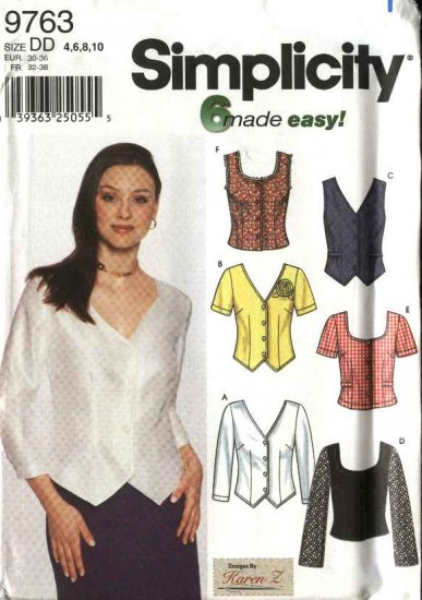 Simplicity Sewing Pattern 9763 Misses Size 4-10 Easy Blouses Shirts Tops Sleeveless Long Sleeves