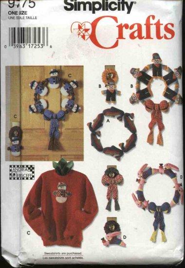Simplicity Crafts Sewing Pattern 9775 Seasonal Decorations Wreaths Wall Hangings Sweatshirt