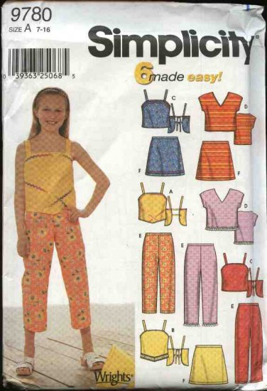 Simplicity Sewing Pattern 9780 Girls Size 7-16 Easy Summer Wardrobe Pants Skirts Tops Suntops