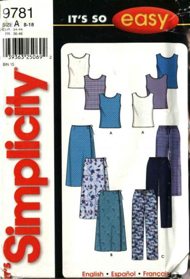 Simplicity Sewing Pattern 9781 Misses Size 8-18 Easy Front Wrap Skirt Drawstring  Pants Knit Top