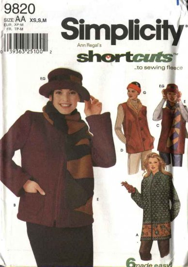 Simplicity Sewing Pattern 9820 5431 Misses Size 6-16 Easy Fleece Jacket Vest Scarf Hat Headband