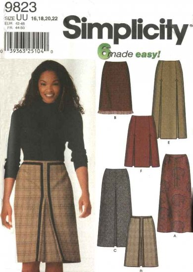 Simplicity Sewing Pattern 9823 Misses Size 16-22 Easy A-Line Pleated Long Short Skirts