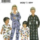 Simplicity Sewing Pattern 9853 Boys Girls Size 3-6 Pajamas Top Pants Shorts Zipper Front Sleeper