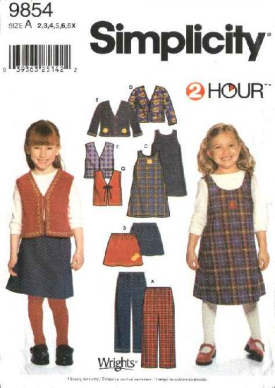 Simplicity Sewing Pattern 9854 Girls Size 2-6x Wardrobe Skirt Jumper Jacket Pants Vest