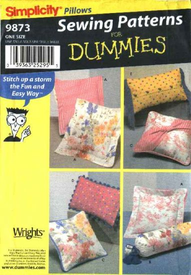Simplicity Sewing Pattern 9873 Five Pillows Cushions Bolster