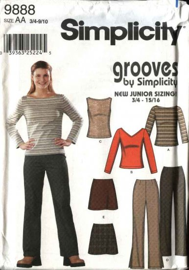 Simplicity Sewing Pattern 9888 Junior Miss Size 3/4-9/10 Fitted Pants Mini-Skirt Pullover Knit Top