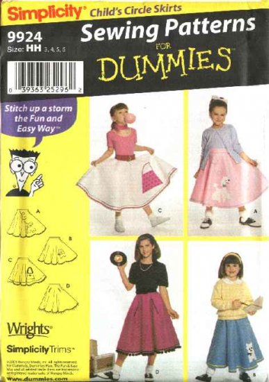 Simplicity Sewing Pattern 9924 Girls Size 3-6 Easy  Circle Poodle Skirt Costume