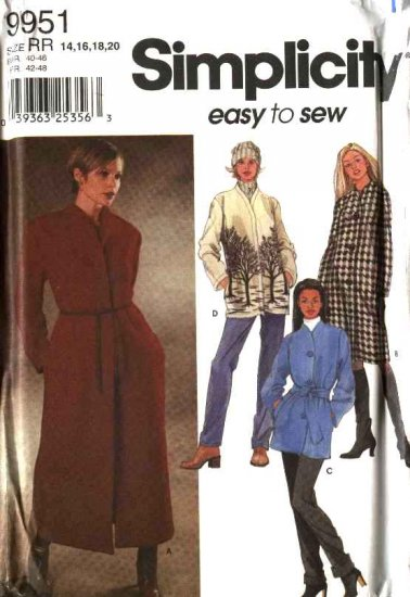 Simplicity Sewing Pattern 9951 Misses Size 6-12 Easy Lined Unlined Coats Jackets