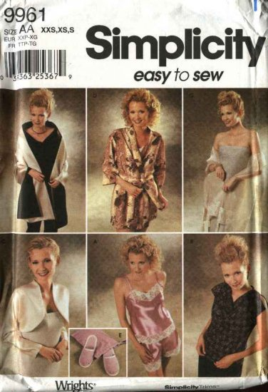 Simplicity Sewing Pattern 9961 Misses  Size 4-12 Lingerie Camisole Tap Pants Shrug Robe Slippers