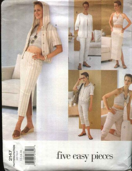 Vogue Sewing Pattern 2147 Misses Size 12-16 Easy Summer Wardrobe Jacket Halter Top Skirt Pants