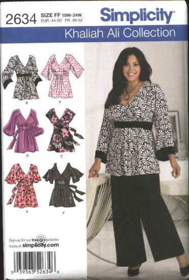 Simplicity Sewing Pattern 2634 Womans Plus Size 18W-24W Pullover Loose-fitting Top Tunic