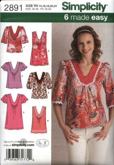Simplicity Sewing Pattern 2891 Misses Size 14-22 Easy Pullover Gathered Tops Tunics