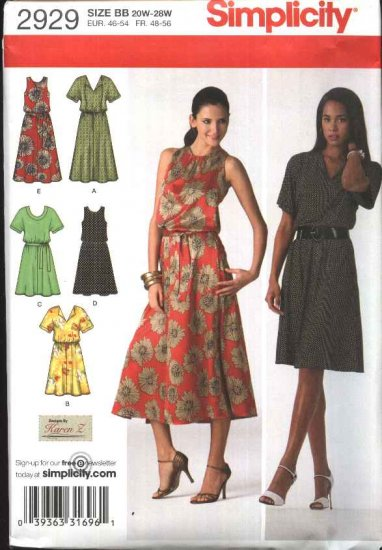 Simplicity Sewing Pattern 2929 Womans Plus Size 20W-28W Pullover Gathered Waist Dress Belt