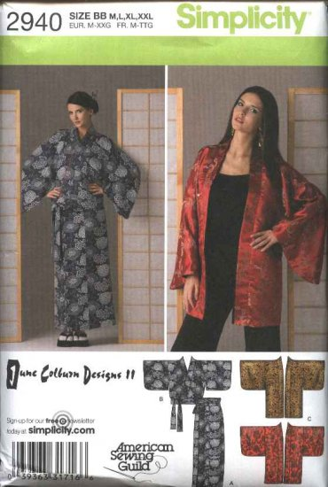 Simplicity Sewing Pattern 2940 Misses Size 14-26 Long Wrap Skirt Short Kimono June Colburn
