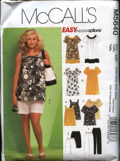 McCall's Sewing Pattern 5640 Woman's Plus Size 26W-32W Easy  Wardrobe Pants Shorts Tops Dress
