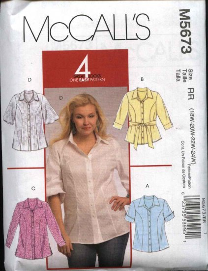 McCall's Sewing Pattern 5673 Womans Plus Size 18W-24W Easy Button Front Shirt Blouse Top